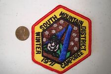 OA SOUTH MOUNTAIN DISTRICT WINTER CAMPOREE 1971 BSA SCOUT FLAP TENT POCKET PATCH