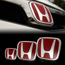3PCS Fit HONDA CIVIC Si Dx ExJDM Red H Emblem Grille+trunk+Steering Wheel 06-15