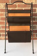 Folding Sling Magazine Newspaper Rack Holder Stand 2-Tier Faux Leather