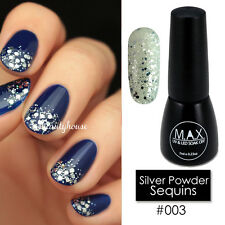 MAX 7ml Nail Art Color UV LED Soak Off Gel Polish #003-Silver Powder Sequins