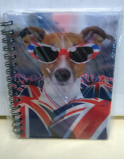 3D Changing Picture Moving Image Lenticular Notebook Jack Russell Cat Union Jack