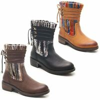 Ladies Womens Combat Army Military Lace Up Low Heel Ankle Boots Shoes Size 3-8