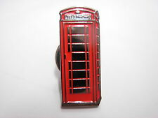 Phone Box pin badge, London Red telephone box. Souvenir lapel badge.