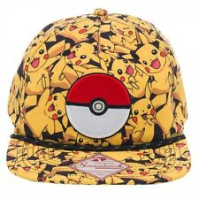 AWESOME POKEMON PIKACHU OVERLOAD ALL OVER PRINT POKEBALL SNAPBACK CAP *NEW*