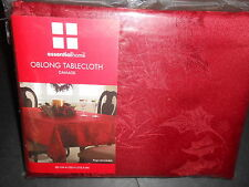 Essential Home Christmas Red Damask tablecloth oblong 60x84in NIP
