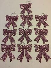 10 Glitter Bow Christmas Tree Ornaments Holiday Decorations Light Pink