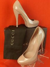 NIB GUCCI BEIGE PATENT LEATHER LISBETH PLATFORM PUMPS # 3099995 38 8 $520