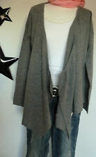 D&F Italy Cardigan Strickjacke 36-42 anthrazit offen Zipfellook  Cashmere Wolle