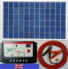 10w Solar Panel + 10A 12v 24v auto Charger Controller and 7m Cable fuse & clips