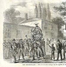 33 SAUTERNES FETE FIN DES VENDANGES GRAVURE ENGRAVING 1869