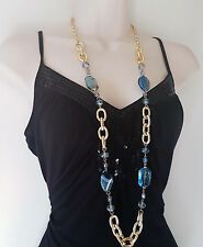 "Stunning 38"" long Gold tone & BLUE tone chunky link chain & bead necklace"
