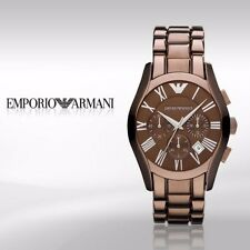 EMPORIO ARMANI UNISEX AR1610 BROWN CERAMIC CHRONOGRAPH WATCH $445 BN in Gift Box