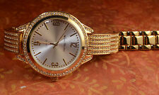 Fashion Ladies Watch gold metal  Bands With Stones gold Color Face