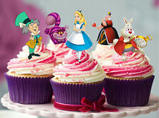 12 STAND UP ALICE IN WONDERLAND EDIBLE WAFER CUPCAKE DECORATION IMAGE TOPPERS
