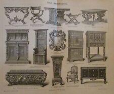 1896 MÖBEL KUNSTTISCHLEREI Original Druck Antique Print Lithographie