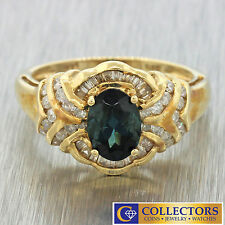 14k Solid Yellow Gold Round Baguette Cut Diamond Oval Indicolite Tourmaline Ring
