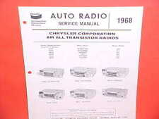 1968 CHARGER SUPER BEE GTX BARRACUDA ROAD RUNNER BENDIX AM RADIO SERVICE MANUAL