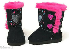 "Black Boot Shoes with Glitter Hearts made to fit 18"" American Girl Doll Clothes"