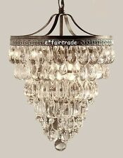 "POTTERY BARN Clarissa Crystal Glass Drop 13"" Round Chandelier, NEW-Retail-$499"