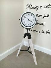White Vintage Shabby Chic Floor Standing Rotating Tri-Pod Clock Home Or Office