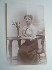 Retro Vintage RPPC - Young Lady+Roses in Vase - Windsor Studios Huddersfield