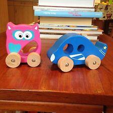 Tradizionale giocattolo in legno di qualità-Rosa Little Owl & Blue Car-Scuola Materna