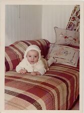 Old Vintage Photograph Adorable Baby Wearing Bonnet Laying on Couch