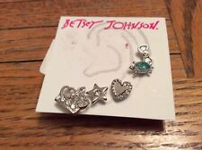 BETSEY JOHNSON EARRINGS SET OF 5 SILVER STUDS CROWN TURTLE, HEART #329