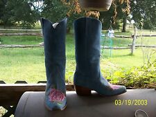 Vintage Embroidered Baby Blue Suede Boots