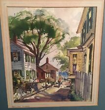 Nantucket Summer Watercolor By Listed American Artist John Cuthbert Hare