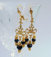 Black Crystal Gold Plate Bollywood Indian Style Chandelier Prom Tango Earrings