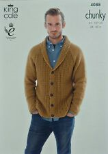 KNITTING PATTERN Mens/Boys Roll Collar V-Neck Cardigan Chunky King Cole 4088