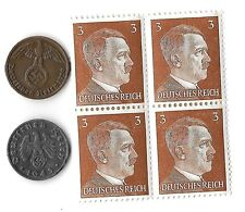 Original Rare Old WWII Nazi Germany Coin Hitler Stamp WW2 SS Collection War Lot