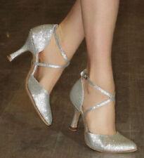 New Sexy Silver Glitter Latin Salsa Ballroom Tango  Closed Toe Dance Shoes