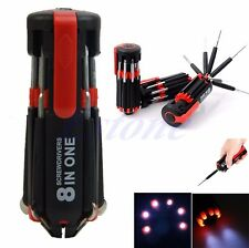 Portable 8 in 1 Multi Screwdriver with 6 LED Torch Tools Light Up Flashlight Set