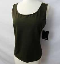 CARLISLE CAPER OLIVE GREEN SILK STRETCH TANK SHIRT TOP SHELL size S NEW $155