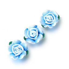 100pcs New Sky Blue FIMO Polymer Clay Rose Flower With Leaf Bead Fit Handmade LC