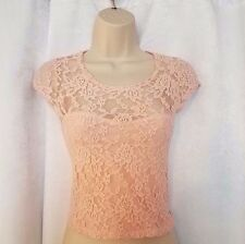 Abercrombie & Fitch Size Small S Lace Blush Crop Top Short Sleeve