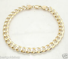 """10"""" BOLD Solid Curb Cuban Chain Ankle Bracelet Anklet Real 14K Yellow Gold"""