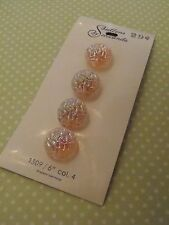 4 Vintage Pink Glass Schwanda Buttons Irridescent sew quilt craft jewelry knit
