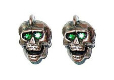 Guitar Parts SKULL KNOBS Set of 2 - BRONZE w/ GREEN Eye