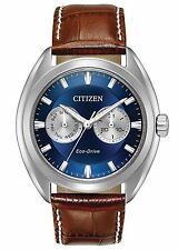 Citizen BU4010-05L Men's Eco Drive Paradex Leather Band Day Date Blue Dial Watch