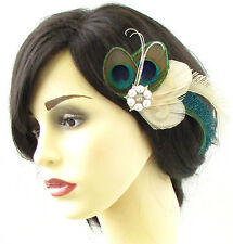 Ivory Cream Bleached Peacock Feather Hair Clip Fascinator Silver Bridal 20s 702
