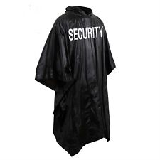 Security bouncer black raincoat poncho rain jacket security silk screen 3687