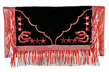 Western Barrel Show Rodeo Style Saddle Pad With Matching Fringes-Red/Black