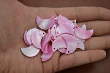 25 PCS DYED PINK MOON BLANK SHELL BEADS CHARMS #T-1238