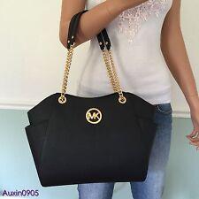 NEW! MICHAEL KORS Gorgeous Black Saffiano Leather Shoulder Bag Tote Purse