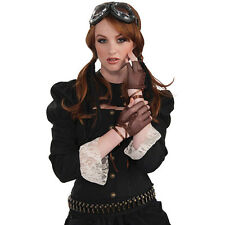 STEAMPUNK #VICTORIAN BROWN FINGERLESS GLOVES 1920s FANCY DRESS COSTUME ACCESSORY