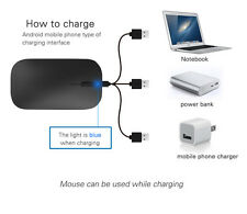 Rechargeable Wireless Mouse 800/1200/1600 DPI Noiseless MAC/Laptop