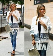 ZARA WHITE BLUE NAVY EMBROIDERED KIMONO JACKET CAPE CARDIGAN COAT SOLD OUT